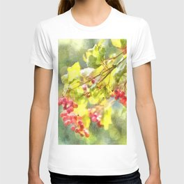 Winter Berries Watercolor T-shirt