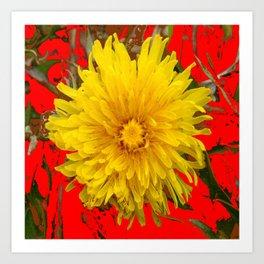 DECORATIVE  YELLOW DANDELION BLOSSOM ON ORGANIC RED ART Art Print