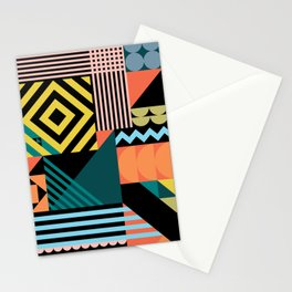 Colorful geometric patchwork pattern Stationery Cards