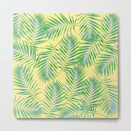Fern Leaves Yellow Metal Print