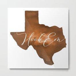 Texas Longhorn Hook Em Watercolor Metal Print