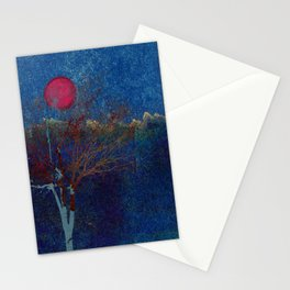 Abstract watercolor landscape with tree Stationery Cards