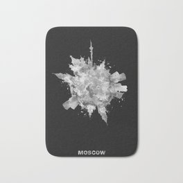 Moscow, Russia Black and White Skyround / Skyline Watercolor Painting (Inverted Version) Bath Mat