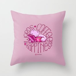 Skribbles: Words. Coffee. Happiness. Throw Pillow