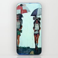 hiking iPhone & iPod Skins featuring Rain Hiking by Fallon Chase