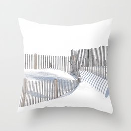 Snow Beach Rhode Island Throw Pillow
