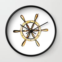 nautical Wall Clocks featuring Nautical by kristinesarleyart