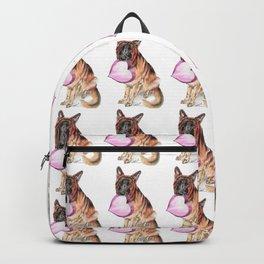German Shepherd love , cute GSD dog watercolor with heart Backpack