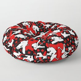 Ice Hockey Player Canada Flag Camo Camouflage Pattern Floor Pillow