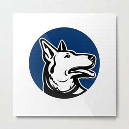 German Shepherd Dog Looking Up Mascot Metal Print