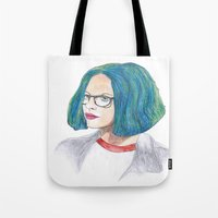 ghost world Tote Bags featuring Ghost World by holy crow