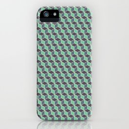 Pistachio Grey Seamless Cube Pattern iPhone Case