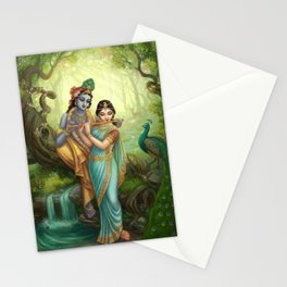 Radha Krishna playing the Flute Stationery Cards