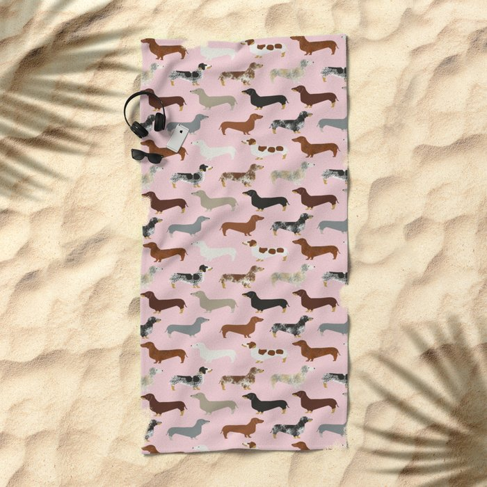 Dachshund doxie pet portrait hot dog weener dog breed funny small dogs puppy gifts for dachshund  Beach Towel