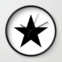 Single black star on white Wall Clock