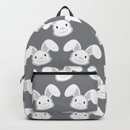 Cute White Bunny on Gray background Backpack