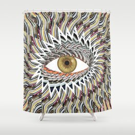 Origami Chakra Eye - Golden Hazel Shower Curtain