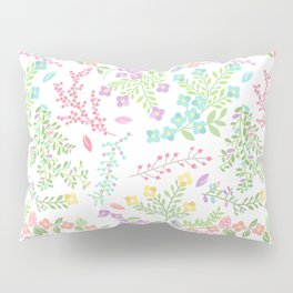 Colorful Easter Flower Pattern - Purple, Pink Green, Blue and Yellow Pillow Sham