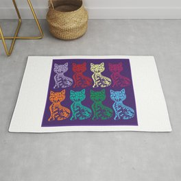 Folk Cats on paper film Rug