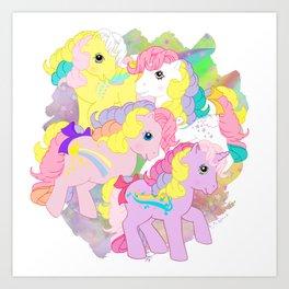 g1 my little pony rainbow curl ponies Art Print