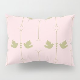 Gold Doves on Pink Pastel Pattern Pillow Sham