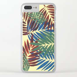 Palm Leaves in Red, Blue and Green Clear iPhone Case