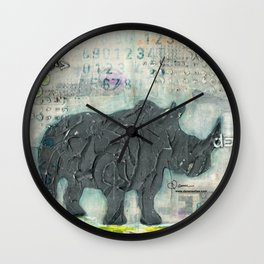 Majestic Series: Rhino on a roll Wall Clock