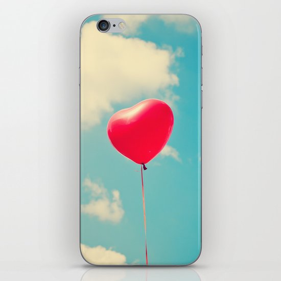 Love is in the air (Red Heart Balloon on a Retro Blue Sky) iPhone & iPod Skin