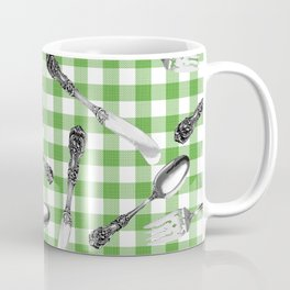 Utensils on Green Picnic Blanket Coffee Mug