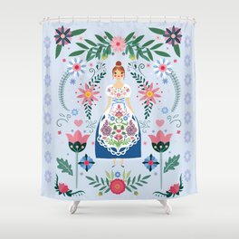Fairy Tale Folk Art Garden Shower Curtain