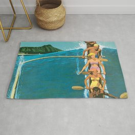 Hawaii, Diamond Head Oʻahu Outrigger United Airlines Vintage Travel Poster Rug