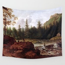 Scandinavian Landscape - 16th century old oil painting Wall Tapestry