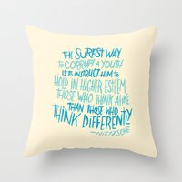 nietzsche Throw Pillows featuring Corrupt A Youth by Josh LaFayette