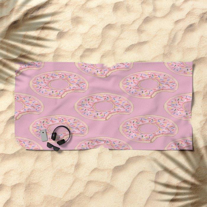 Pink Donut Beach Towel