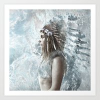 feather and the sea Art Print