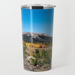 Treeline Mountain Top // Long Range Landscape Photograph Rustic Forest Fall Colors Travel Mug