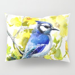 BLue Jay and Yellow Flowers Pillow Sham
