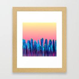 Candy Sunset Blue Cactus Glitch Framed Art Print