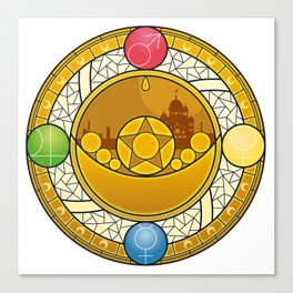 Sailor Moon Crystal stained glass window Transformation Brooch Canvas Print