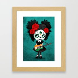 Day of the Dead Girl Playing Indian Flag Guitar Framed Art Print