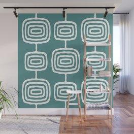 Mid Century Modern Atomic Rings Pattern 771 Teal Green Wall Mural