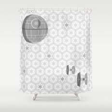 Star Wars Death Star, Tie Fighters, and Imperial Crest in Gray Shower Curtain