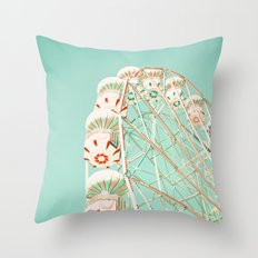 Blue and Red Ferris Wheel  Throw Pillow