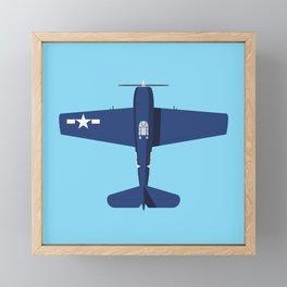 F6F Hellcat WWII Fighter Aircraft - Blue Sky Framed Mini Art Print