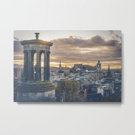 Edinburgh city and castle from Calton hill and Stewart monument Metal Print