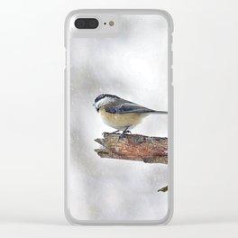 Chickadee Versus Winter Storm Stella Clear iPhone Case