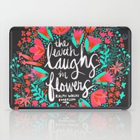 waldo iPad Cases featuring The Earth Laughs in Flowers – Pink & Charcoal by Cat Coquillette