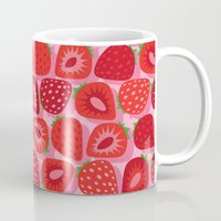 strawberry Mugs featuring Strawberry by Helene Michau