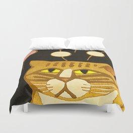 Japanese Cat Cubism Woodblock Print Cherry Blossom Midcentury Modern Duvet Cover