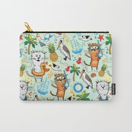 Summer sea picture with a cat and pelican Carry-All Pouch